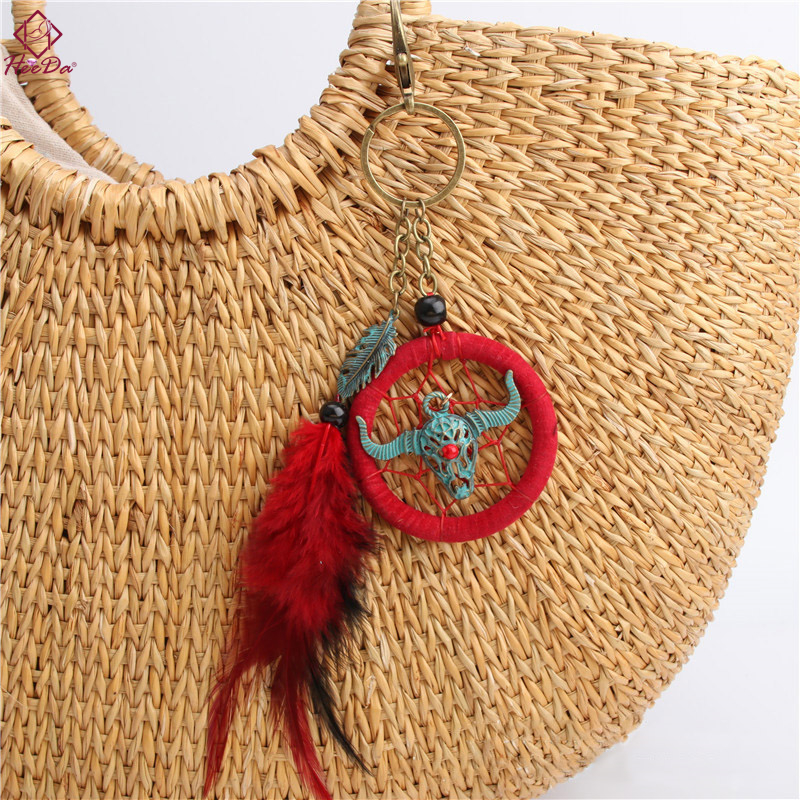 Heeda Bohemian Bull Head Dreamcatcher Feather Keychain for Handbags Boho Ethnic Hand Made Graceful Joker Bag Jewelry Accessories