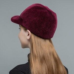 Image 5 - Gors chapéus de pele feminina real sheep shearing bonés forro de algodão quente no inverno moda preto viseiras de lã nova chegada glh023