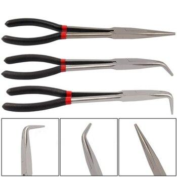 Juego de Alicates de punta EXTRA larga de 3X 11 pulgadas, punta recta y curvada, herramienta de mano de agarre mecánico