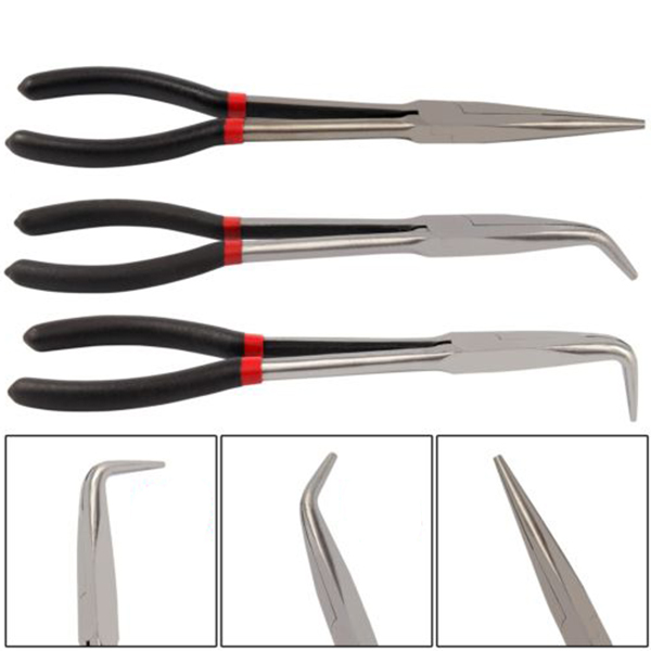 MYLB-3X 11 inch EXTRA LONG NOSE PLIERS SET STRAIGHT & BENT TIP MECHANIC GRIP HAND TOOL 9mm tip straight injection mould ejector pin thimble punching 300mm long 5pcs