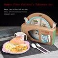 Bambus Baby Gerichte Schüssel Tasse Platten Sets 4 teil/satz Sub grid Cartoon Geschirr Kreative Geschenk Für Infant Kleinkind Kinder geschirr|Geschirr|   -