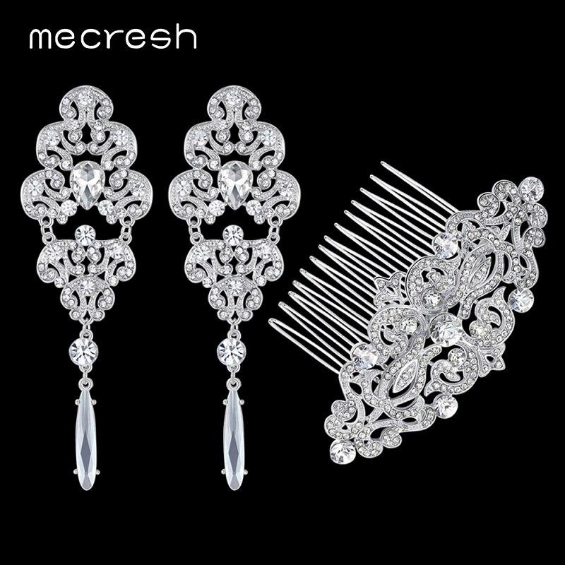 Mecresh Top Kristall Silber Farbe Braut Zubehör Vintage Ohrringe Fs066 Zur Verbesserung Der Durchblutung Kämme Hochzeit Schmuck Sets Eh165