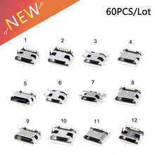 60pcs/lot 5 Pin SMT Socket Connector Micro USB Type B Female Placement 12 Models SMD DIP Socket Connector(China)
