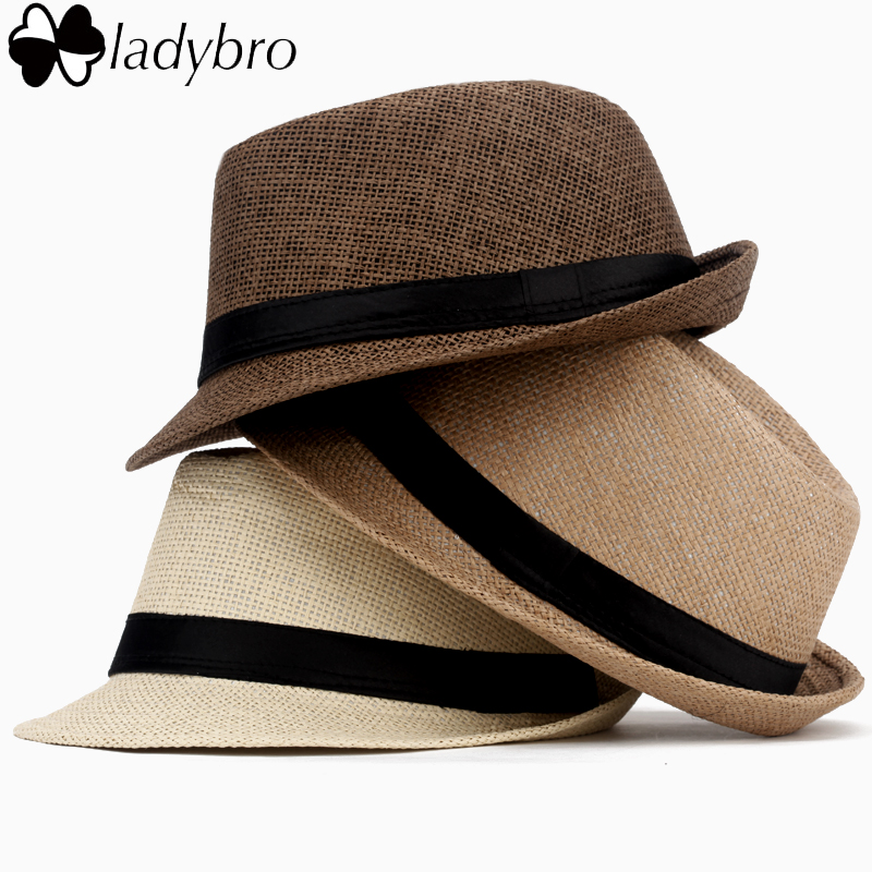 Ladybro Women Sun Hat For Men Hat Kids Summer Beach Hat Kind Cap Vrouwelijk Panama Straw Hat Mannelijk Gangster Trilby Sun Visor Cap Boy