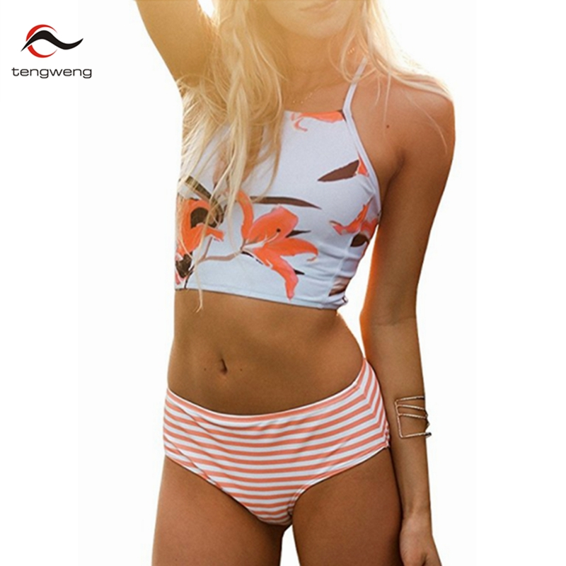 New Bikini 2017 Sexy Women High Waist Push Up Bikini Set Floral Top Stripe BathingSuit Swimwear Retro Swimsuit Female Plus Size