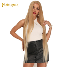 Ebingoo 42 Inch Blonde Futura Fiber Long Straight 613  Synthetic Lace Front Wig Womens Middle Part Stylish