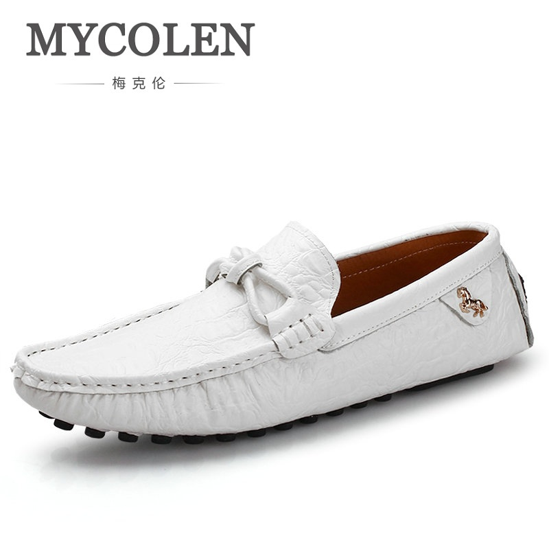 MYCOLEN Spring Autumn Fashion Mens Slip On Casual Shoes Genuine leather Crocodile pattern Male Breathable Flat Driving Shoes 2017 spring autumn casual genuine leather breathable men shoes han style tide fashion men manual waterproof slip on drive shoes