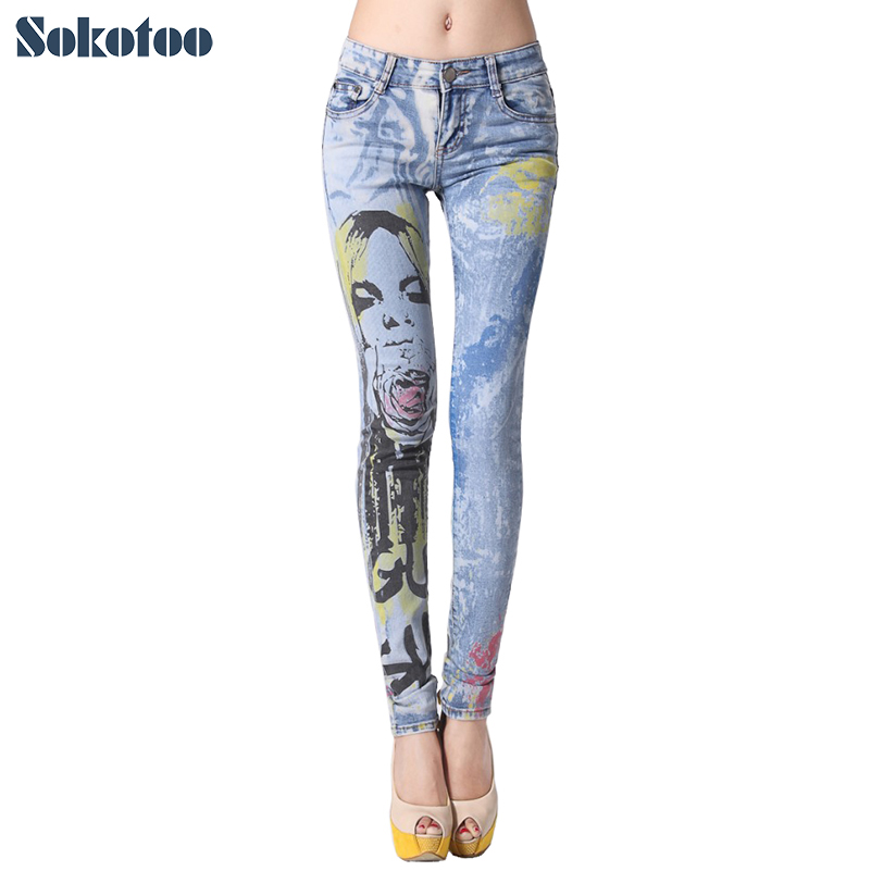 Sokotoo Women's beauty drawing printed skinny jeans Fashion painted denim pencil pants Long trousers fashion europe style printed jeans men denim jeans slim black painted pencil pants long trousers tight fit casual pattern pants