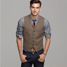 Коричневый шерстяной твидовый жилет в елочку, мужской костюм, жилетки, Приталенный жилет для жениха, винтажный свадебный жилет, уникальный мужской жилет, плюс S