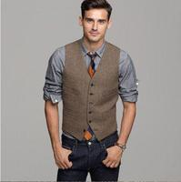 Brown Wool Herringbone Tweed Vest Men's Suit Vests Slim fit Groom Vests Vintage Wedding Waistcoat Unique Mens Dress Vest Plus S