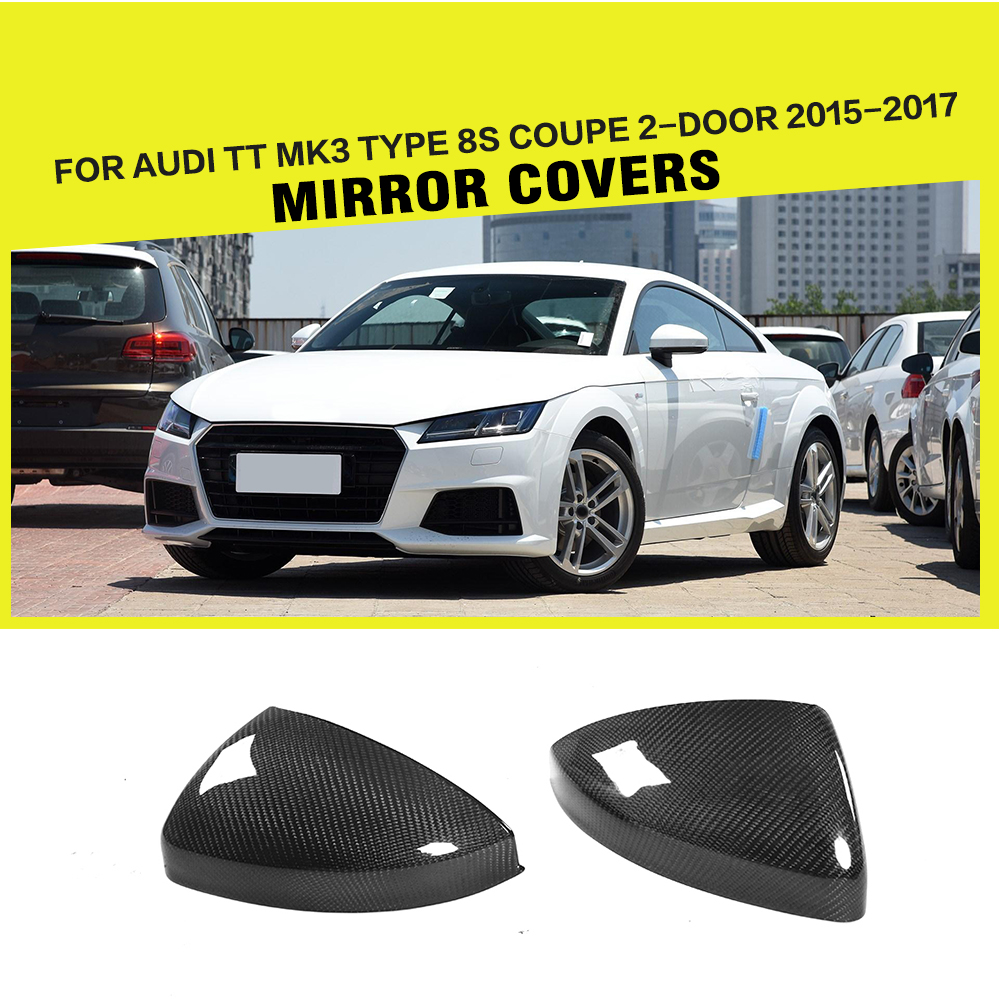 Replacement Style Carbon Fiber Racing Rearview Mirror Covers Cap for Audi TT MK3 Type 8S Coupe 2-Door 2015-2017