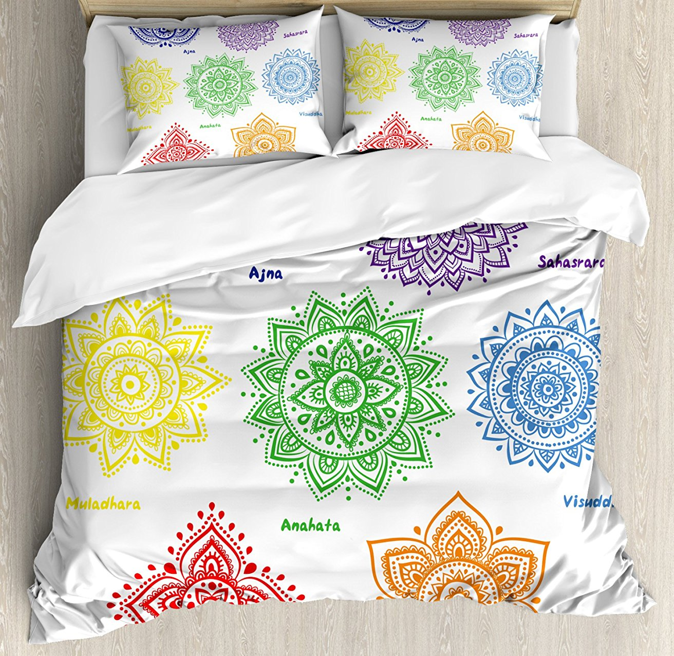 Chakra Decor Duvet Cover Set Collection of Symbols in Different Colors with Ornate Round Mandala Asian Print 4 Piece Bedding Set