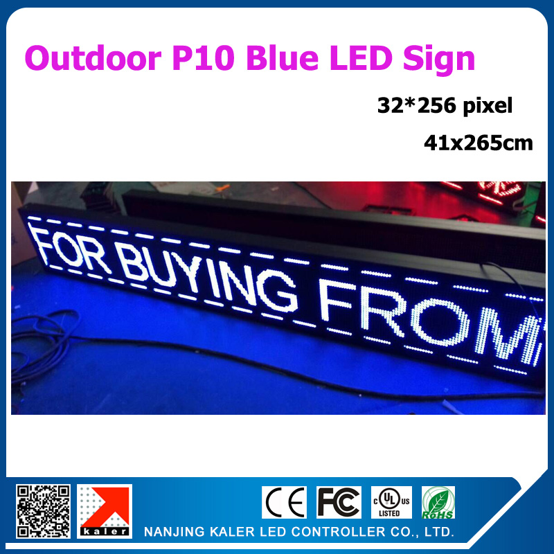 41x 265cm P10 Blue Led Sign Outdoor Moving Message Advertising Led Display Board 16x104inches With Wifi Control Card