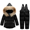2016 Winter Newest Baby Girls Boys Down Suits Hooded Coats+Bib Pants Kids Outdoor Suits Windproof Warm Thick Children Suits