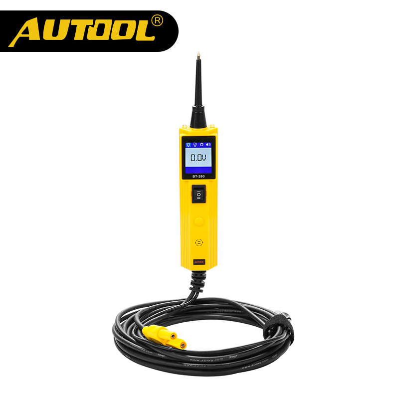 AUTOOL BT260 6-30V Car Battery Tester Diagnostic Tool Electrical System Automotive Vehicle Circuit LED Power Voltage Test Probe vxdas vsp200 vehicle super probe power scan tool vsp200 electrical system circuit tester vsp200 to test diode and show values