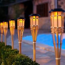 2 stücke Outdoor Garten Solar Bambus Taschenlampe Lichter Landschaft Pathway Solar Taschenlampe Lichter Solar Rasen Spike Strahler (Warmes Licht)