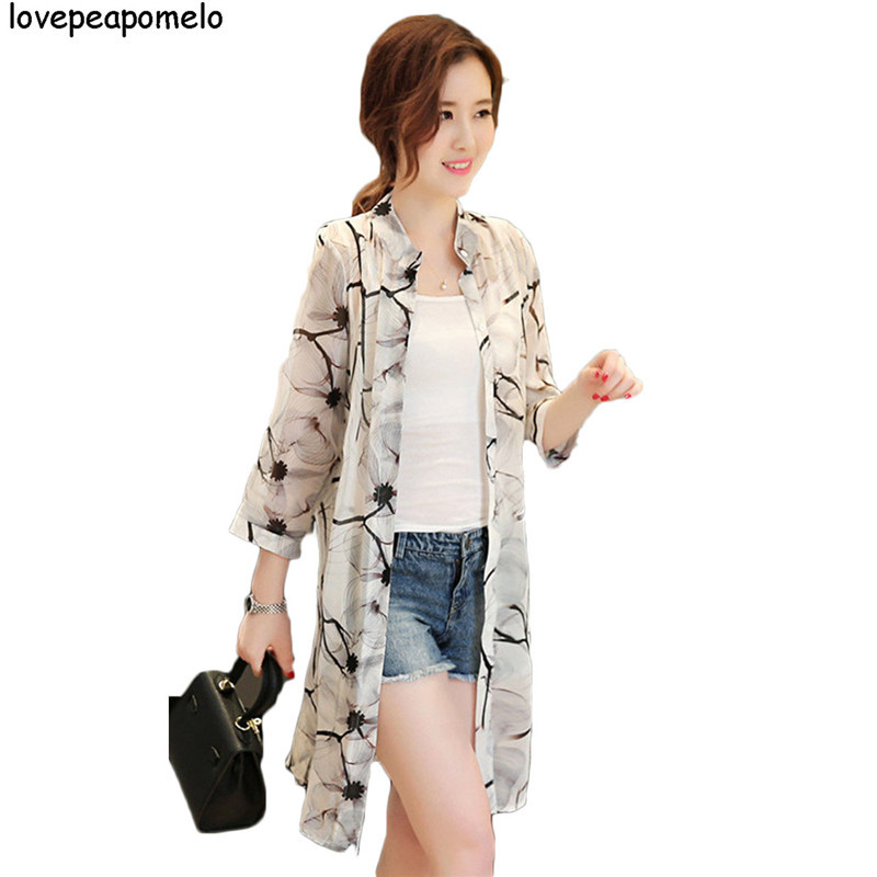 2018 Fashion Women Boho Peony Print Chiffon Loose Shawl Gauze Kimono Cardigan Casual Lady Shirt Cover Summer Beach Blouses D287 Convenience Goods Women's Clothing