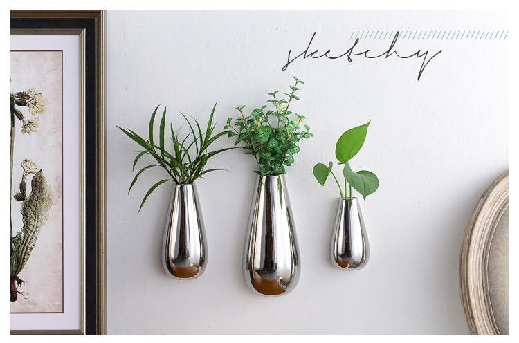buy set of 3 silver plated ceramic wall vase teardrop ceramic flower vase wall mounted planters wall decor living room home decor from