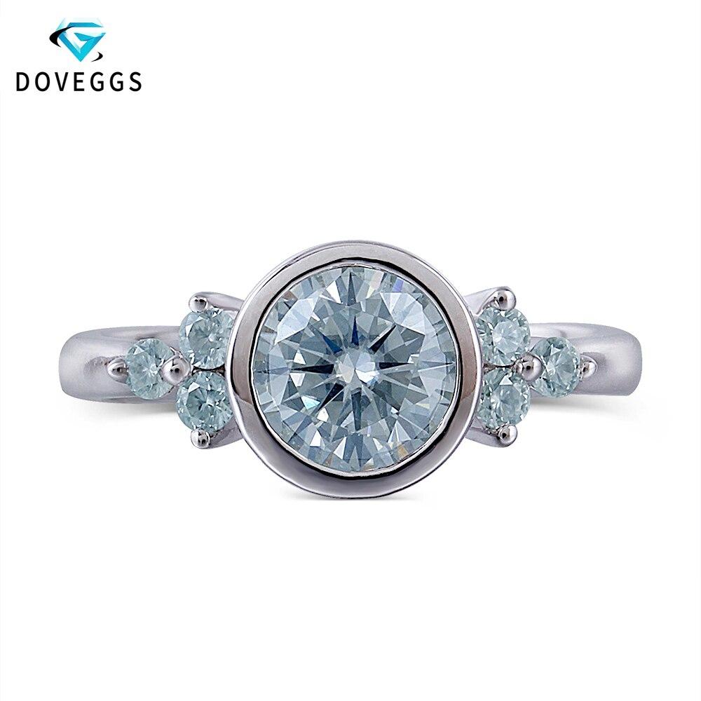 DovEggs Platine Plaqué Argent Center 1ct carat 6.5mm Moissanite Diamant bague de fiançailles Pour Femmes alliances avec Accents