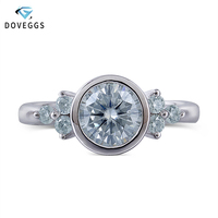 DovEggs Platinum Plated Silver Center 1ct carat 6.5mm Moissanite Diamond Engagement Ring For Women Wedding Rings with Accents