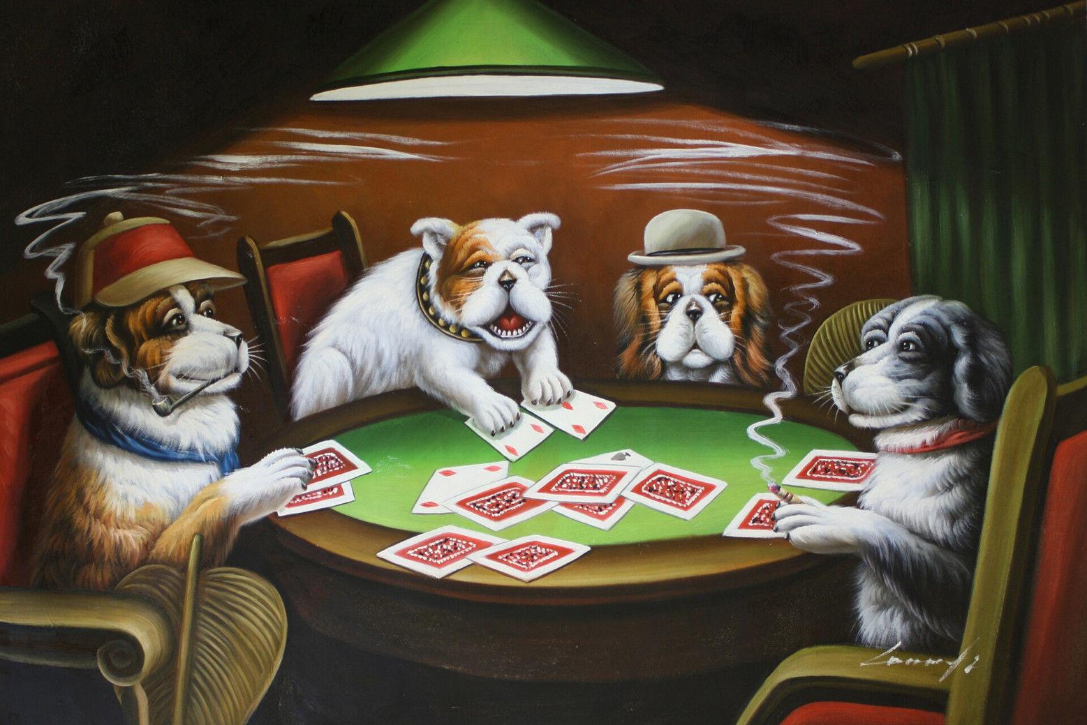 Perros Jugando Poker Vintage Poster En Tela 36x24 Decoracion 05 En