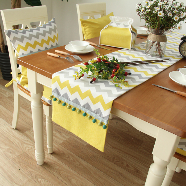 Modern Simple North European Yellow Strip Cotton Linen Table Runner Table  Runners Home Textile Made In