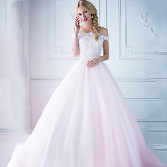 Rosa Brautkleid Perlen Backless vestido de noiva Braut Formales ...