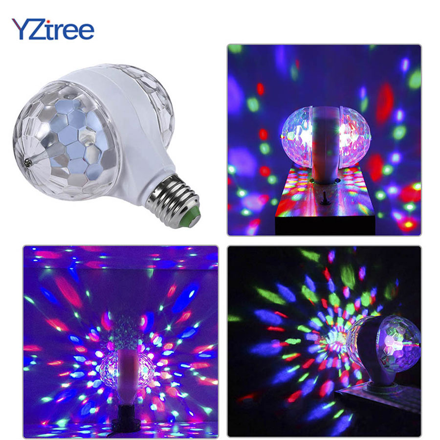 Double Ball Crystal LED Stage Light RGB 6W E27 Colorful Magic Ball Club DJ Disco Party KTV Home Effect Lighting Auto Rotating