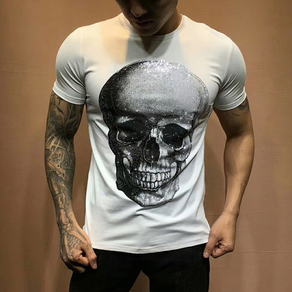 DUYOU Men Summer Designer T Shirt Men Brand Clothing Fashion Tshirts Shining Rhinestone Big Skulls Cotton T-shirt Male Top Tees
