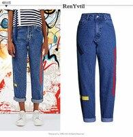 RenYvtil Einreiher Loch Zerrissene Jeans Frauen MÄDCHEN Gewaschen Denim Vintage Boyfriend-Jeans für Frauen Straße Casual Kreuz Hosen