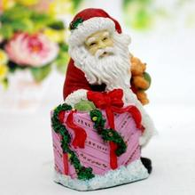 Christmas 3d Santa Claus Sitting on a gift box and holding a bear silicone candles mould soap molds for home decorations цена и фото