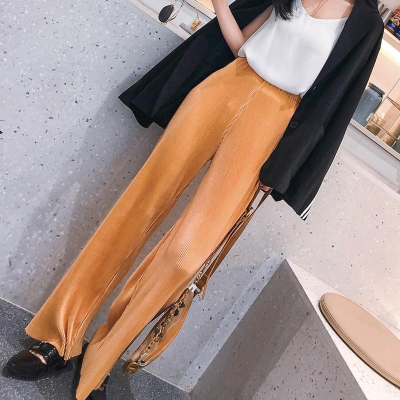 2019 vår sommar nya mode kvinnor vintage hög midja breda ben byxor kvinnor lång längd lösa mjuka tunna pläterade byxor dam