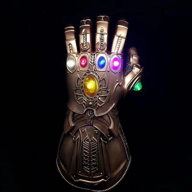 Los Vengadores infinito guerra Thanos guantelete del infinito de luz LED guantes de PVC para Halloween