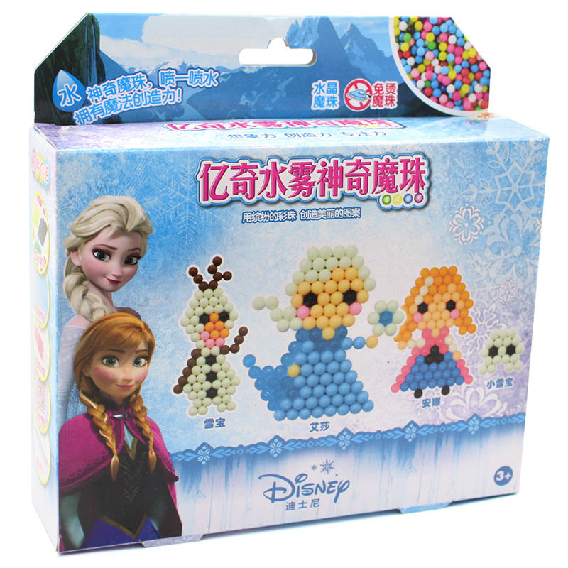 Elsa And Anna Water Mist Magic Beads Model Building Kits Disney  Cars Hand-assembled Water-adhesive Beads Educational Toys