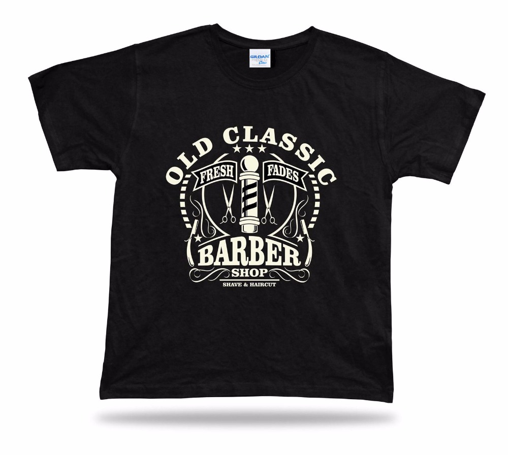 Summer style fashion mens casual short-sleeved shirt T-shirt old classic barber shop 100% Cotton Tee shirt