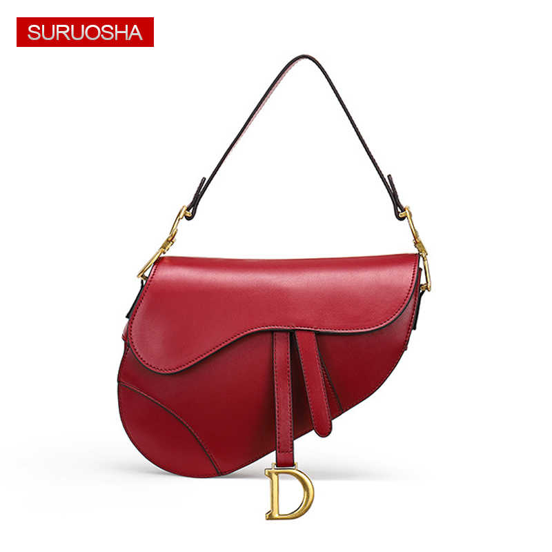 8d4b7d4feeda Luxury Brand 2019 Ins Saddle Bag Women Bag Genuine Leather D Metal Women Leather  Handbags Luxury