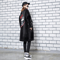 "BringBring 2017 Autumn Winter Black Long Jacket and Coat for Women Velvet Embroidery ""LOVE"" Jacket Spliced with Pu leather 1754"