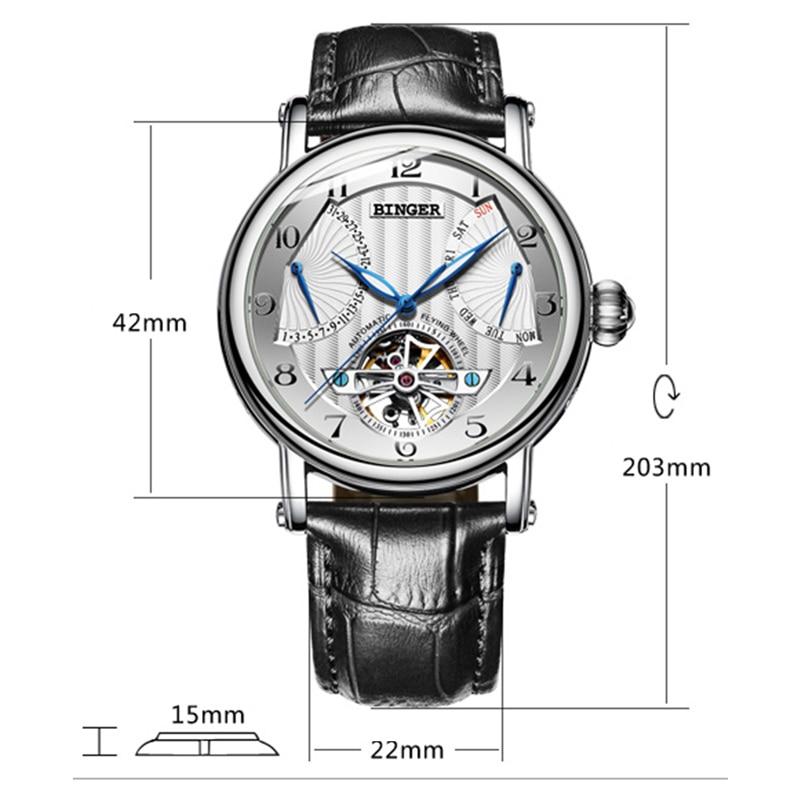 Switzerland Brand BINGER Watches Men Luxury Tourbillon Automatic Watch Sapphire Genuine Leather Waterproof Mechanical Wristwatch