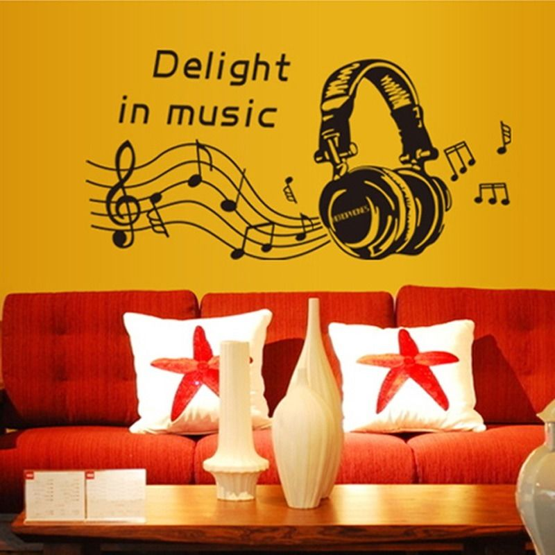 Removable Delight In music Music Note Art decal wall sticker Quote ...
