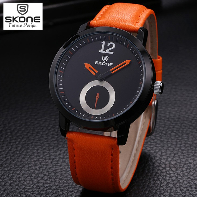 SKONE watches men luxury brand men watch relogio wristwatches Fashion men's leather strap quartz watch Free Shipping men watches