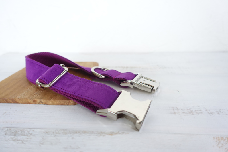 50pcs/lot MUTTCO wholesale self-designed nylon solid dog accessory THE CANDY PURPLE handmade 5 sizes dog collars and leashes set