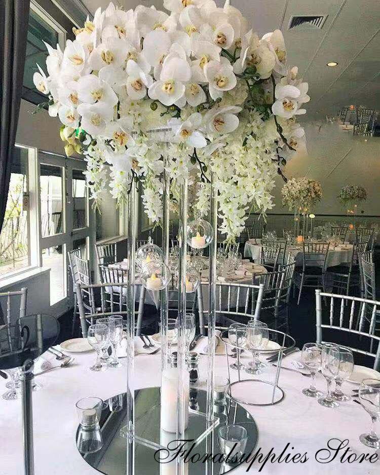 Atacado acrílico flor vaso claro vaso de flores mesa peça central casamento luxo floral suporte colunas para a decoração do casamento