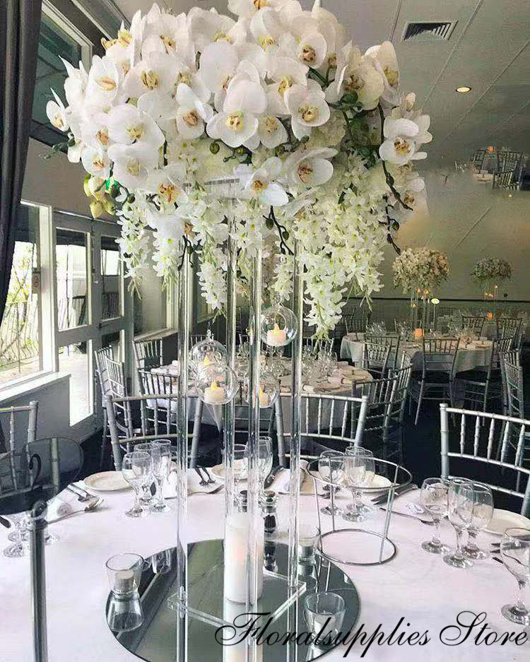 Wholesale Acrylic Flower Vase Clear Flower Vase Table Centerpiece Marriage Luxury Floral Stand Columns For Wedding Decoration
