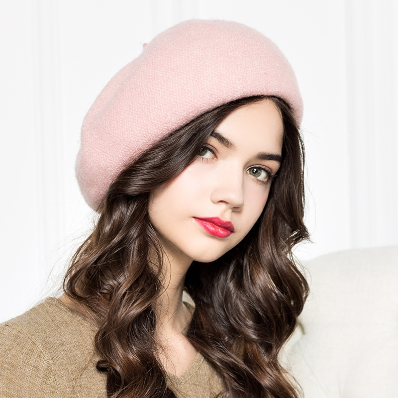 2018 New Lady Fashion Wool Hat Girls Autumn New Former Two Wave Wool Pumpkin Playful Painter Cap Beret Snowflakes Hat B-4253