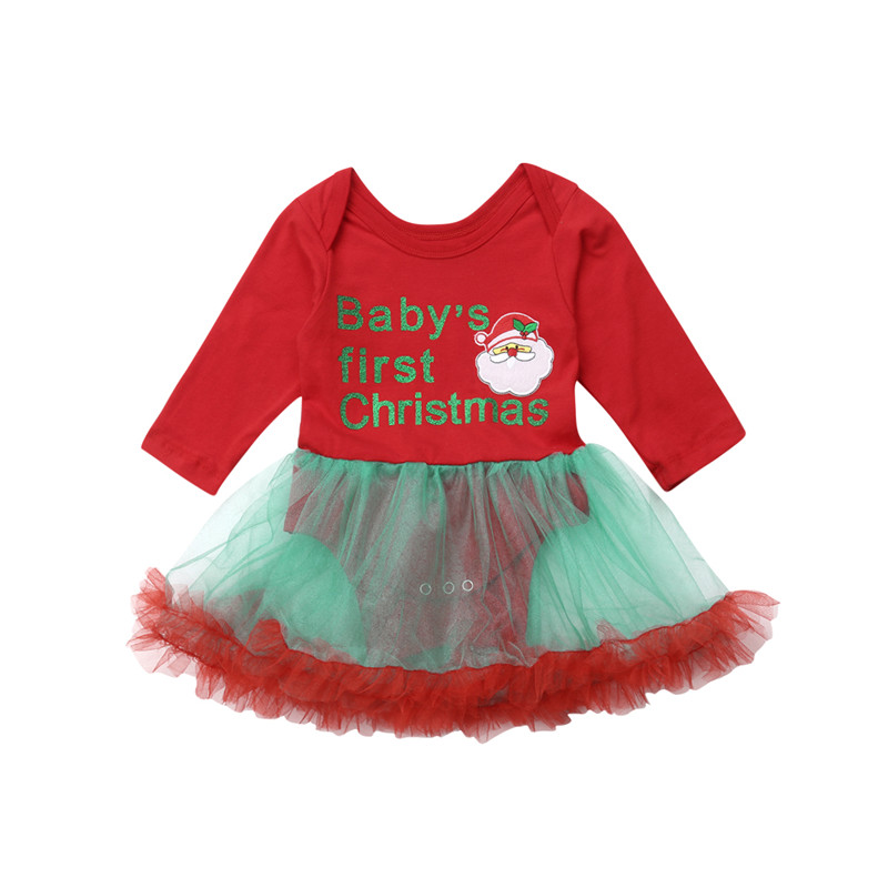 CANIS Newborn Kids Baby Girl Dress Christmas Bodysuits Bebe Girls Print Tutu Dresses Clothes Outfits Bodysuits Dress Xmas Red cupcake zebra print lace petti rompers tutu dress with headband toddler birthday outfits vestido bebe newborn baby girl clothes
