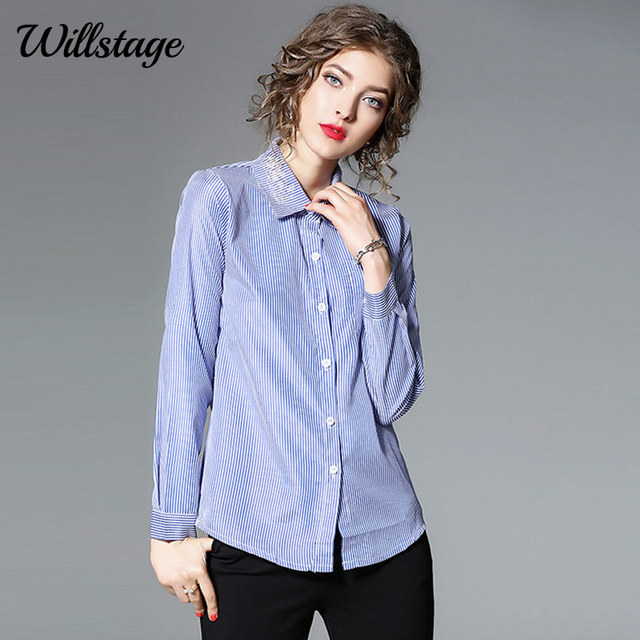 bede81efb2f Willstage Blue Striped Shirts Long Sleeve Women White Floral Embroidery  Blouses Button Office lady OL Wear