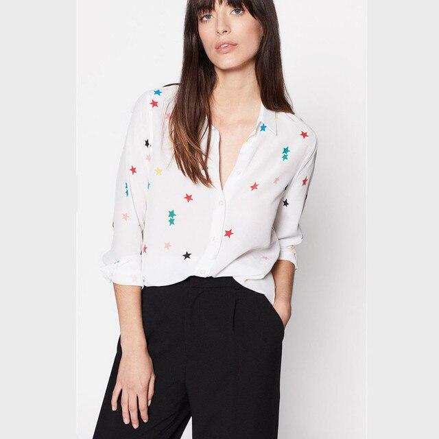 08b0babdc90da3 100% natural silk blouse print colorful star shirt chiffon blusas women  office lady high quality runway blouse white 2019 new