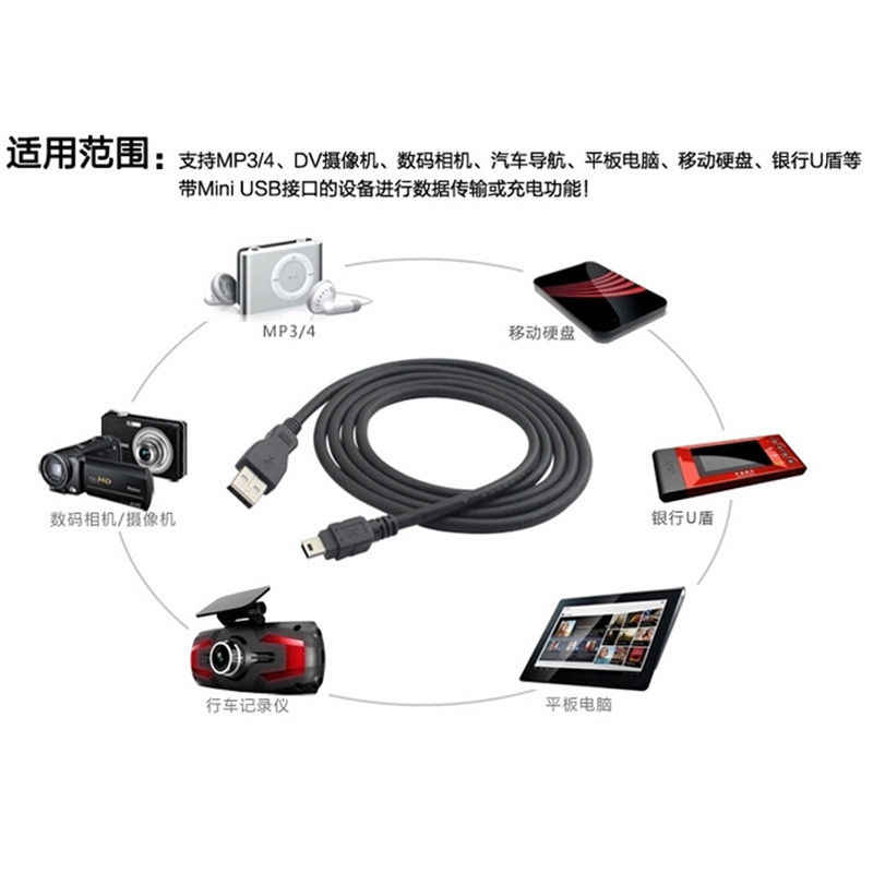 Câble de chargement de données adaptateur de cordon USB 2.0 A mâle à Mini 5 broches B meilleure longueur noire 80/100 cm câbles de données câble d'extension usb