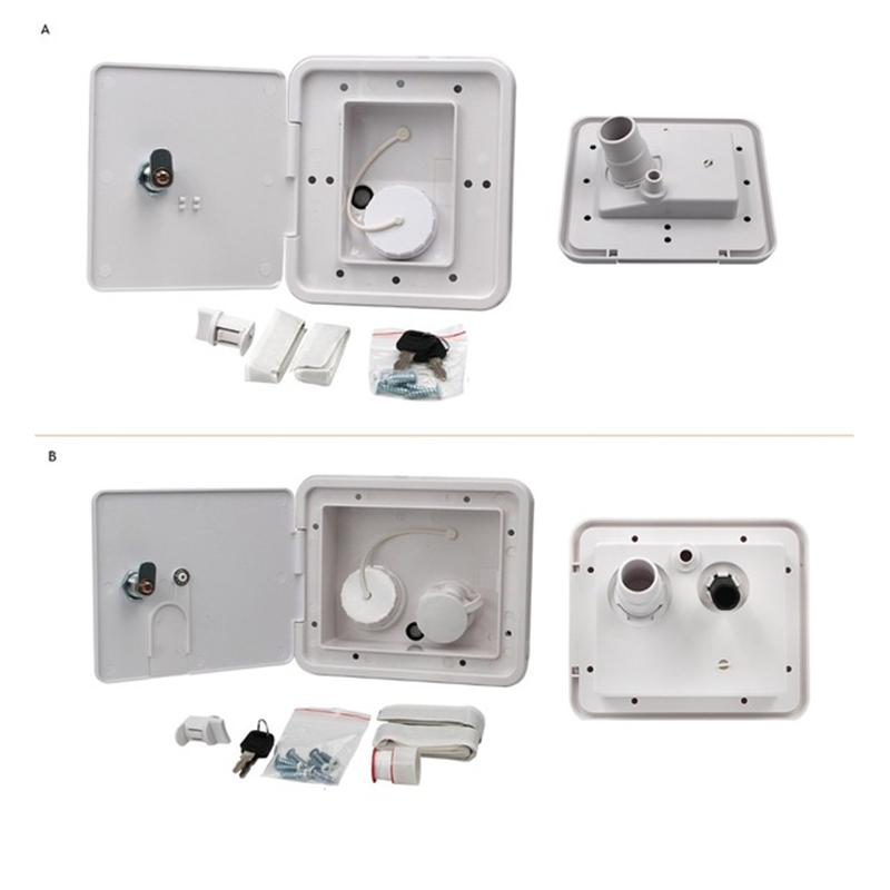 Wall Mount Recessed Flush Gravity Water Dish With Lock Water Fill Inlet Outlet Car Vehicle Trailer
