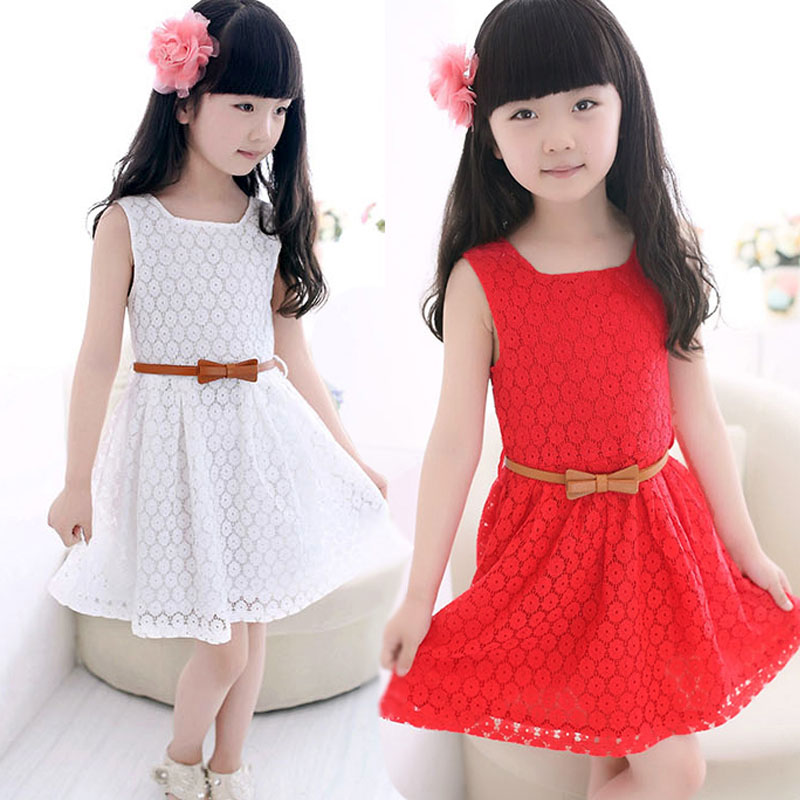ARLONEET Hot Summer Lace Vest Girl Dress Baby Princess Dress Costume 3 to 12 Years A-Line Sleeveless Dresses Red White 03A26a30 jewel neck sleeveless floral print a line belted dress